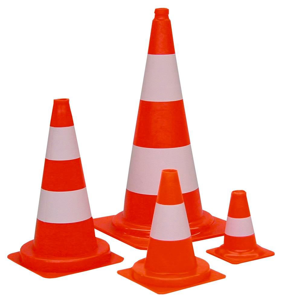 Traffic Cone, PVC, with 2 white rings, fluorescent, height 500 mm
