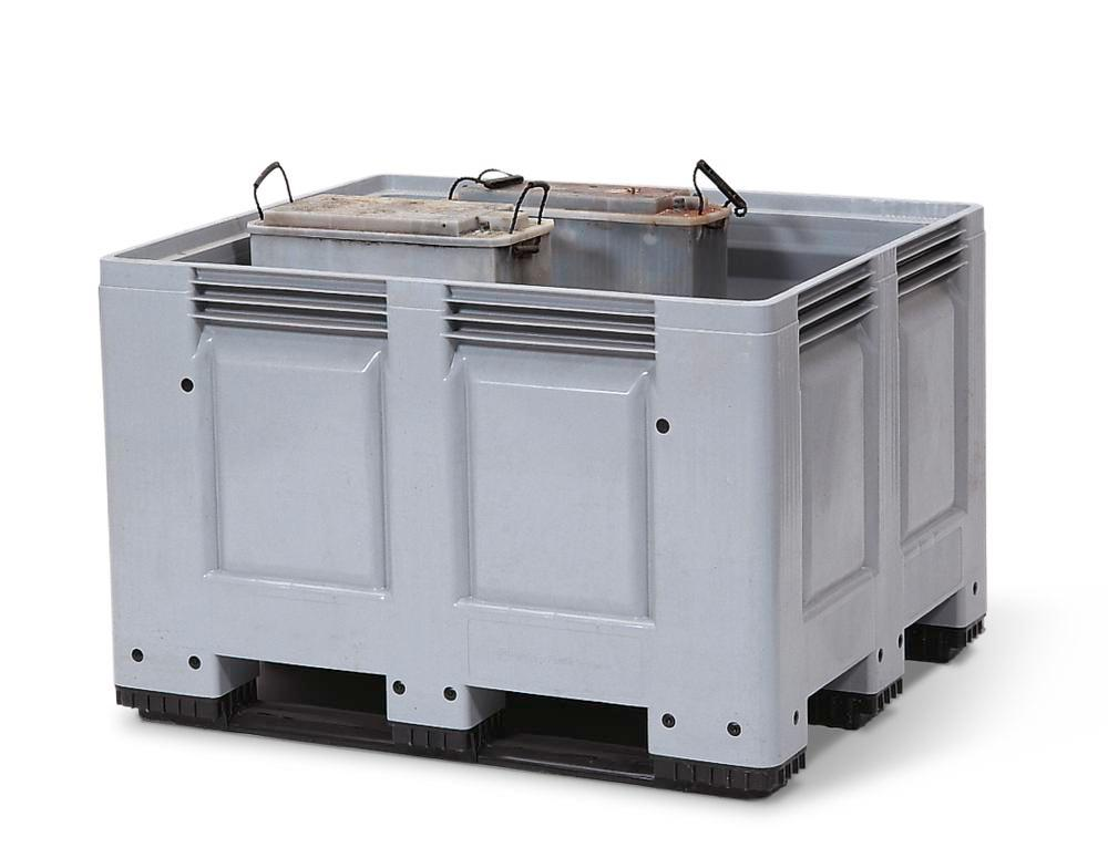Used battery container PB 10, 670 litre capacity, grey