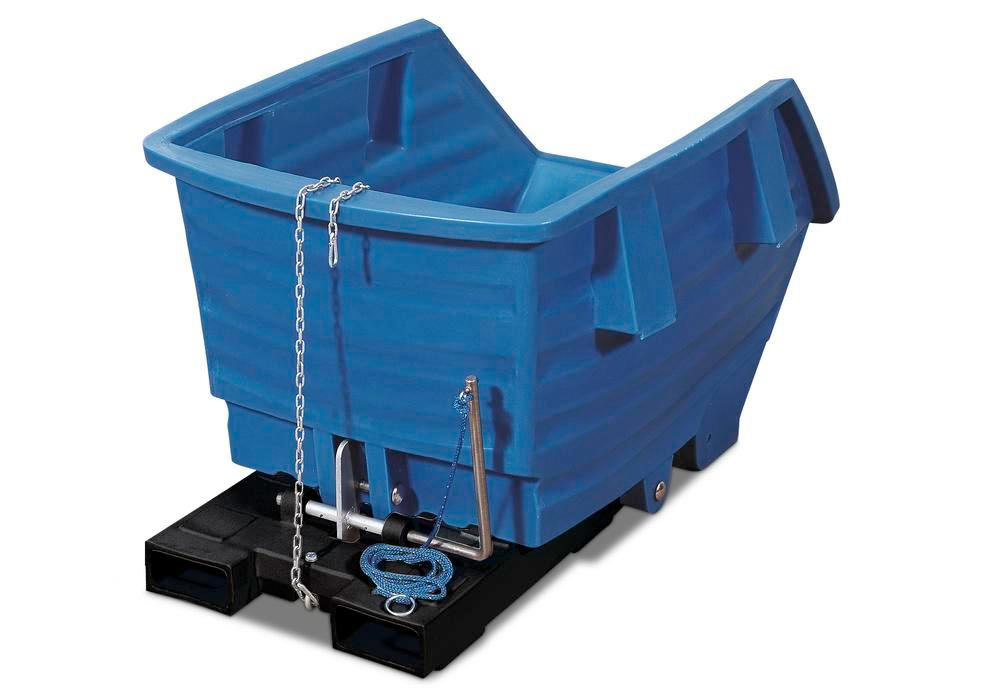 Blue Polyethylene Skip, 750l Capacity, Without Castors