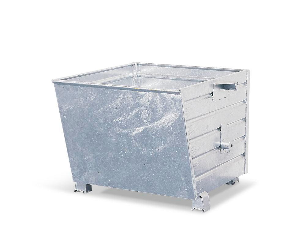 Bulk materials container PS 8012 in steel, 650 litre volume, galvanised