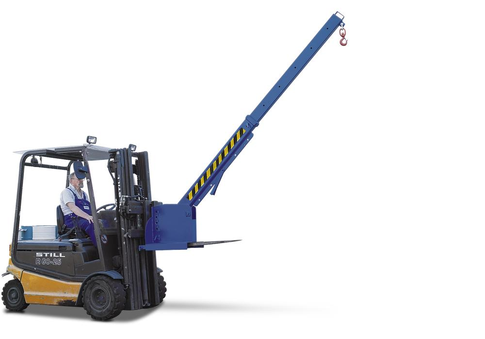 Crane arm KV, galvanised, extendable horizontally to 6 positions and adjustable to 45°, 650-3000 kg