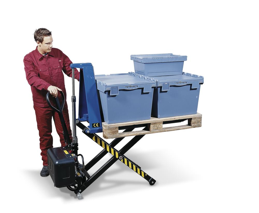 High lift pallet truck SHW E, with electro hydraulic pump, load capacity 1000 kg
