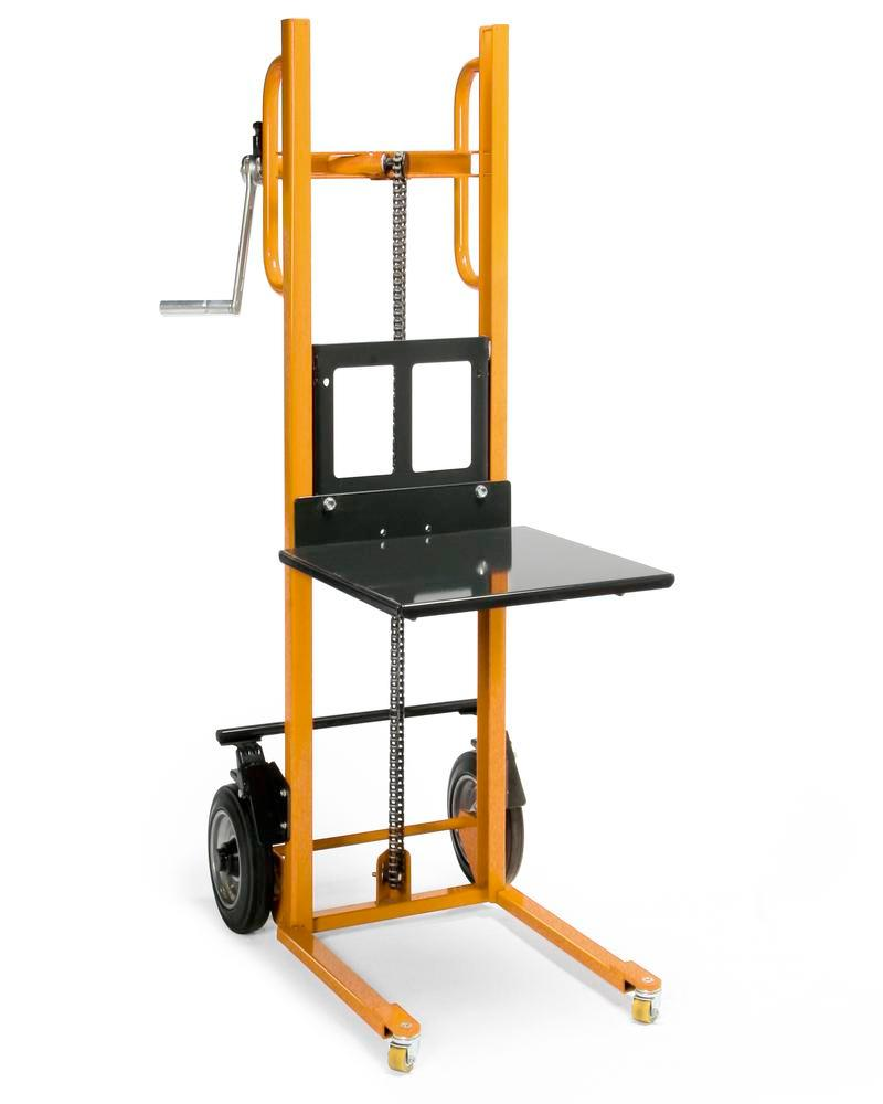 Lifting trolley in plastic coated steel profiles, 150 kg load capacity, pneumatic tyres