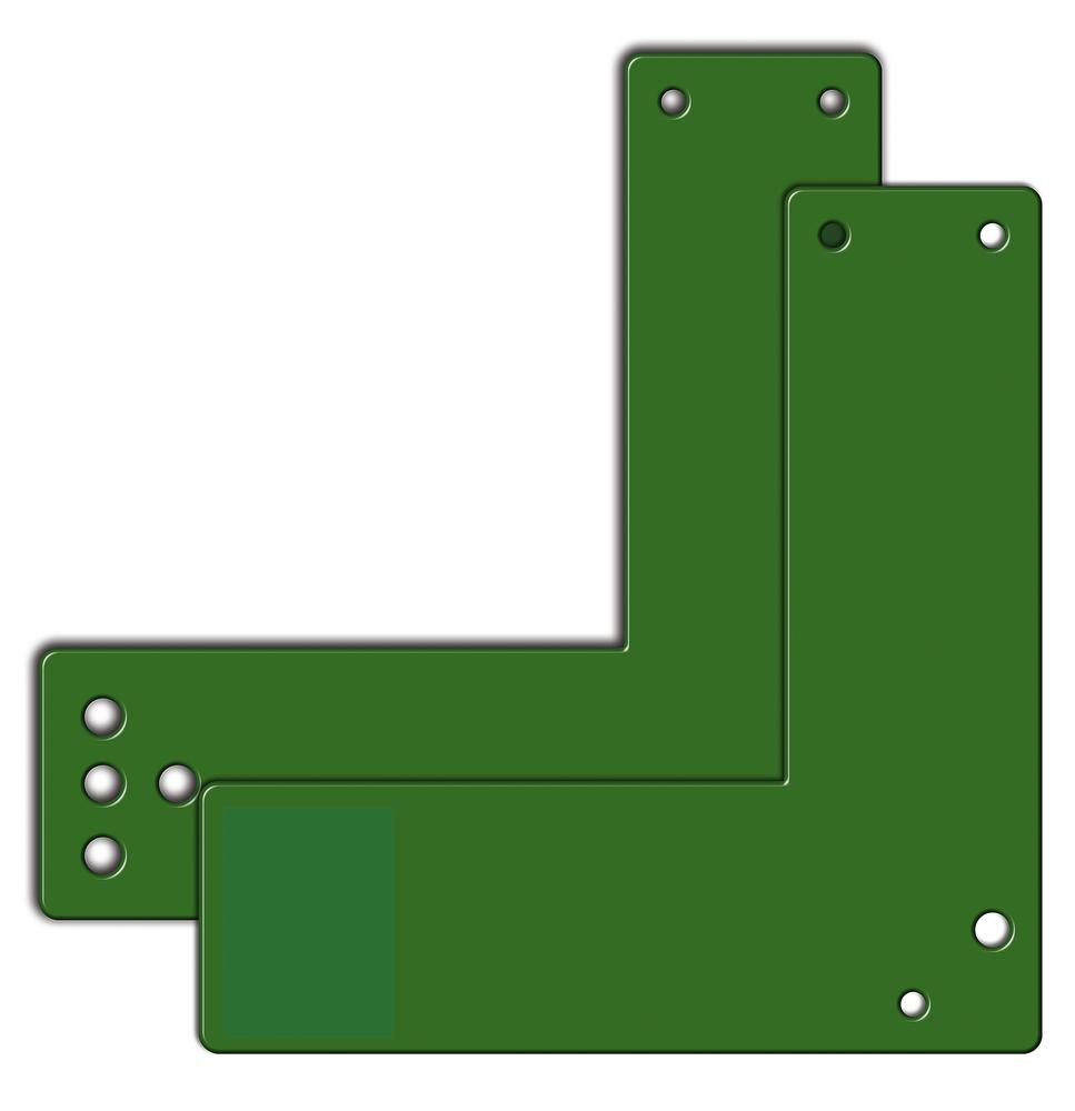 Mounting plates for glass frame doors 17.5 cm short, sabotage-proof with holes - 1