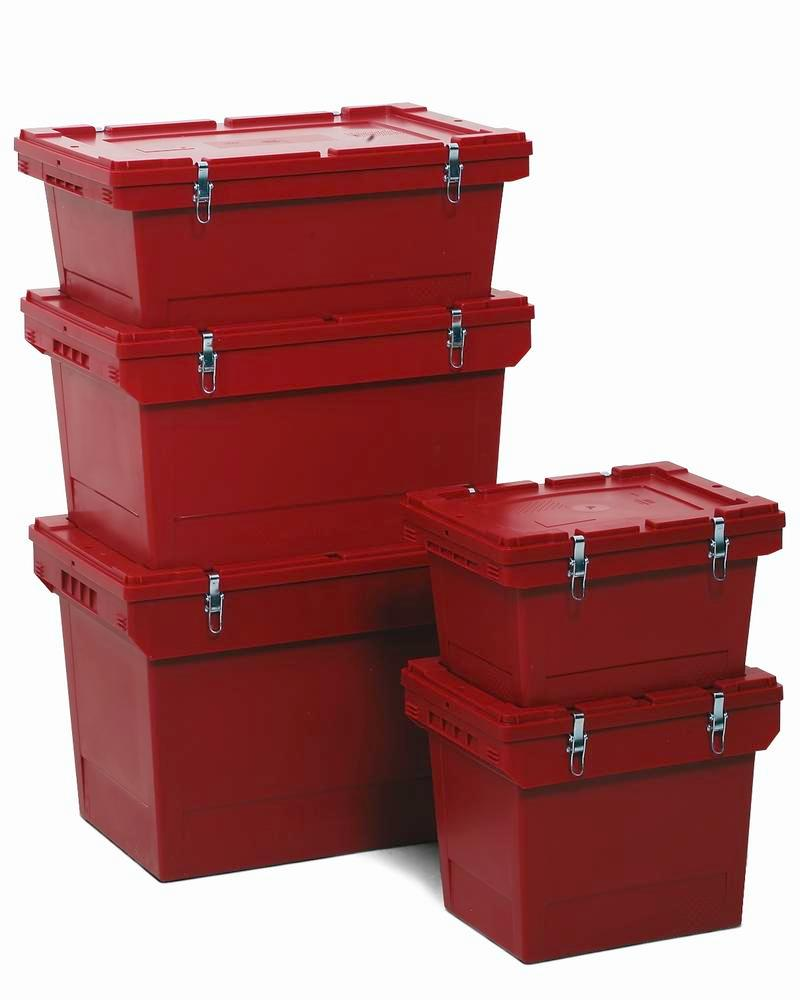 Polypropylene reusable Haz Goods container, 38 ltr, snap-on lid, secure metal fasteners