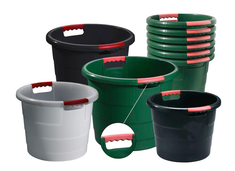 Round containers, polypropylene, for storage, transport and production, 45 litre capacity, black