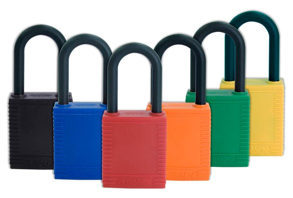 Safety lock with plastic coating, red, non-conductive