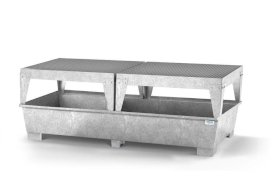 Spill pallet classic-line in steel for 2 IBCs, galvanised, with 2 dispensing platforms-w280px