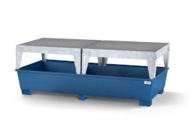 Spill pallet classic-line in steel for 2 IBCs, painted, 2 dispensing platforms-w280px