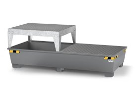 Spill pallet pro-line in steel for 2 IBCs, painted, dispensing platform and grid-w280px