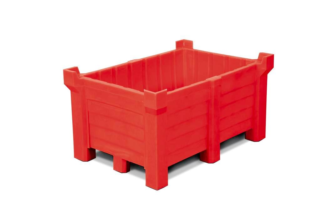 Stackable container of polyethylene (PE) 260 litre contents, 240 litre capacity, closed, red