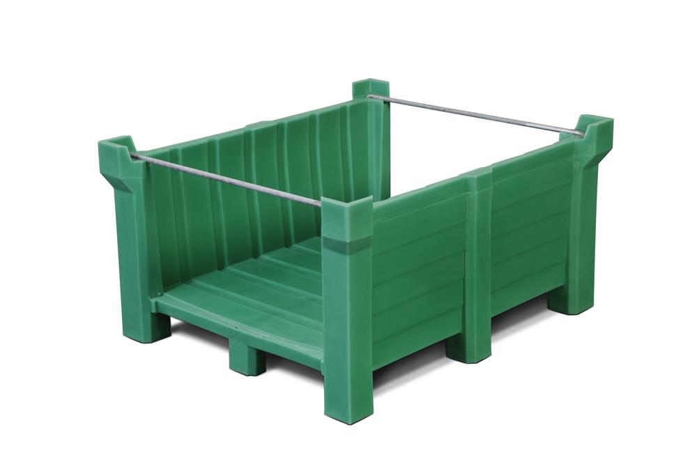 Stackable container of polyethylene (PE) 300 litre volume, front open, green