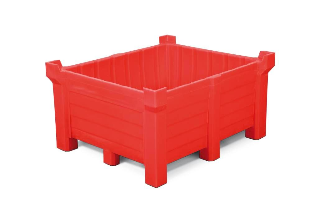 Stackable container of polyethylene (PE) 400 litre contents, 360 litre capacity, closed, red