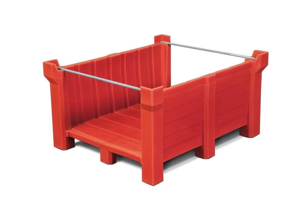 Stackable container of polyethylene (PE) 400 litre volume, front open, red