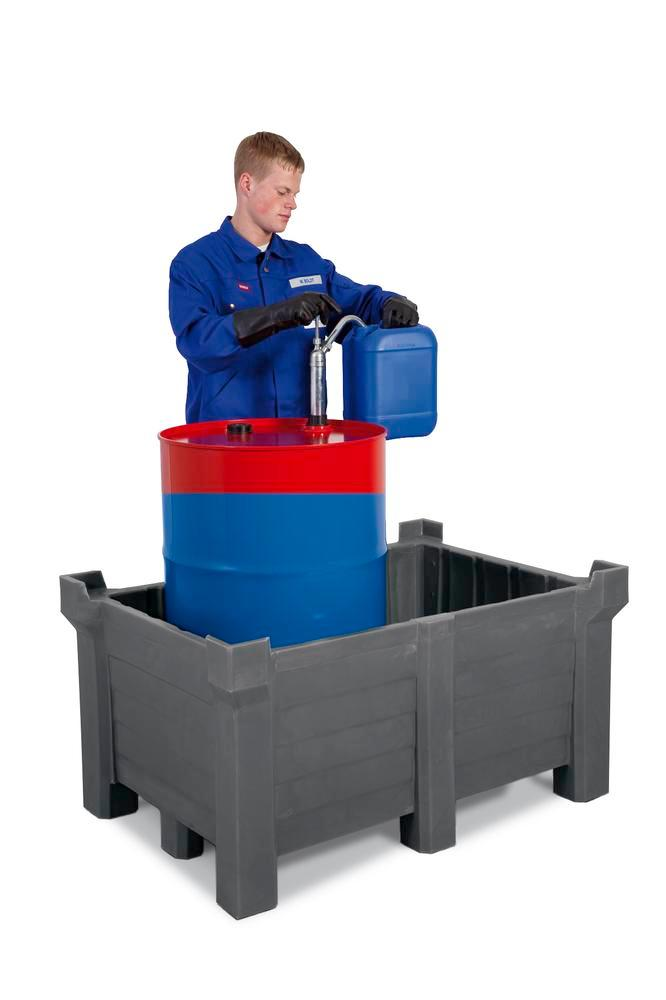 Stackable container of polyethylene (PE) 90 litre contents, 70 litre capacity, closed, grey