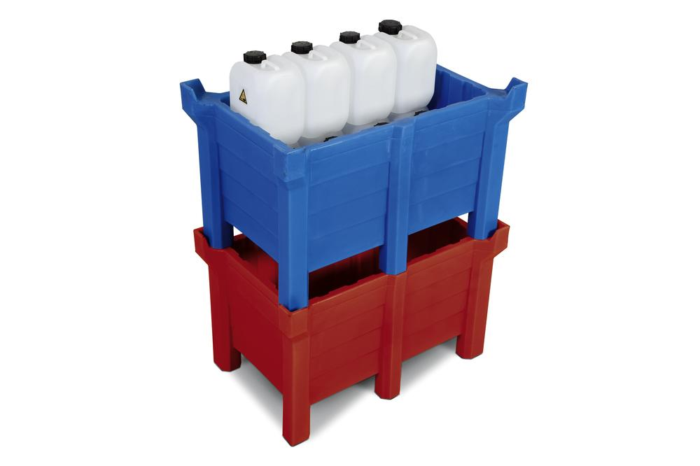 Stackable container of polyethylene (PE) 90 litre contents, 70 litre capacity, closed, red