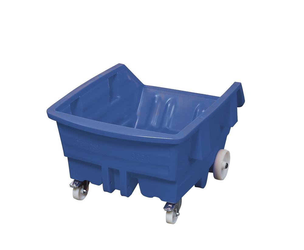 Tipping container of polyethylene (PE) with castors, 500 litre volume, blue