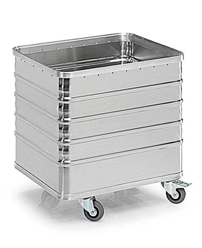 Transport container TW 235-D, without lid, 4 closed sides, 4 swivel wheels, 225 litres