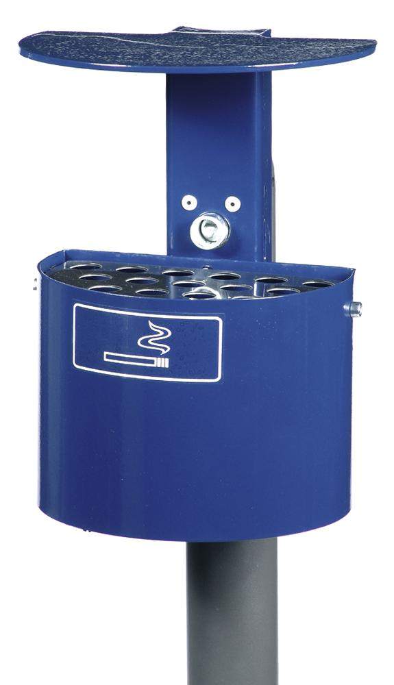 Ashtray with hood, galvanized steel, 2 litre capacity, half-round, cobalt blue