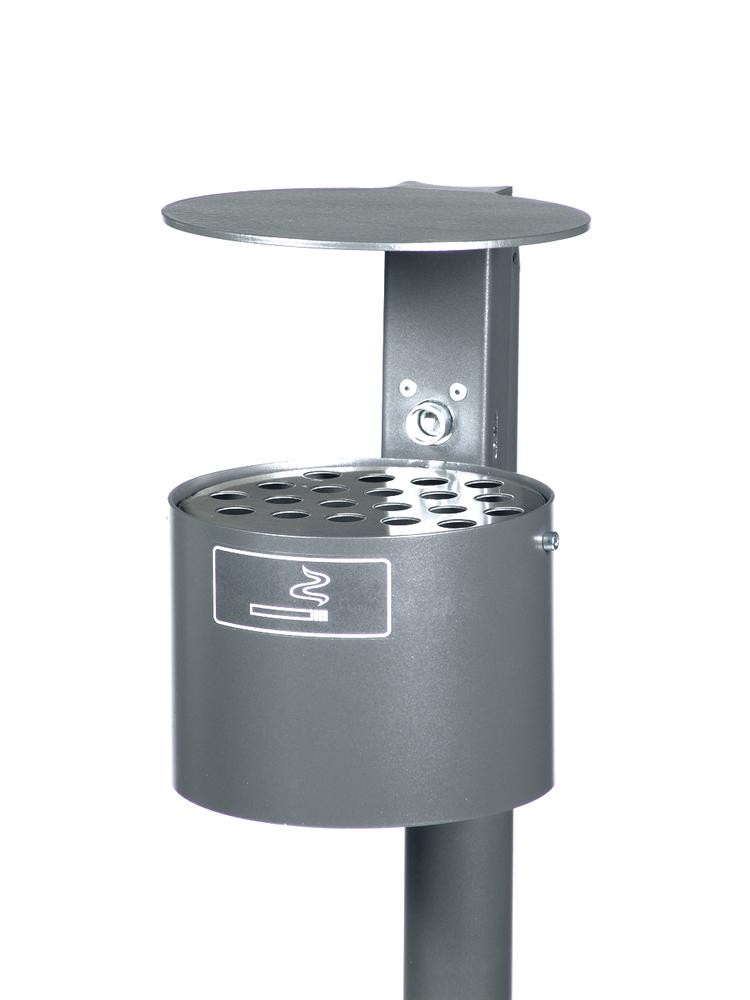Ashtray with hood, galvanized steel, 4 litre capacity, round, anthracite