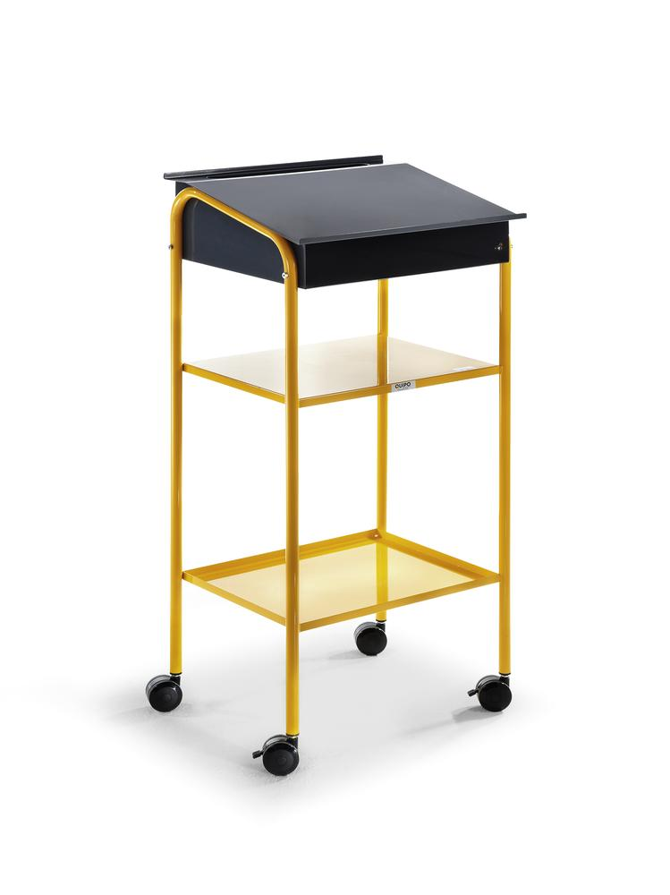 Basic Station workshop desk, 1 desk box anthracite with compartment , 2 welded shelves, yellow