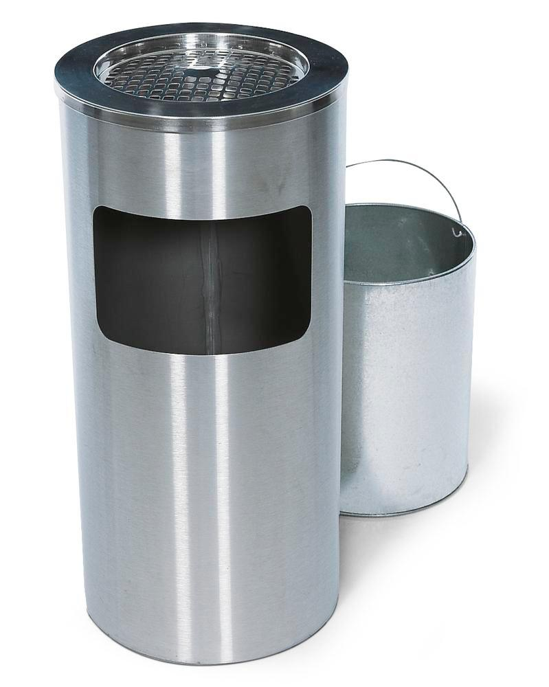 Combined waste bin / ashtray in stainless steel, with removable ashtray, 20 litre volume