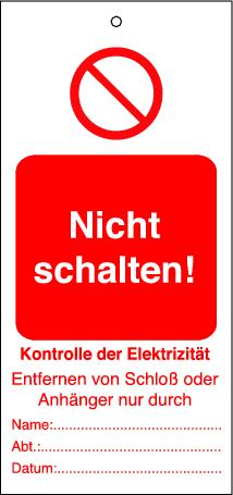 """Hanger f. """"Do not switch on"""" warning notice 10 pack, incl. cable ties"""