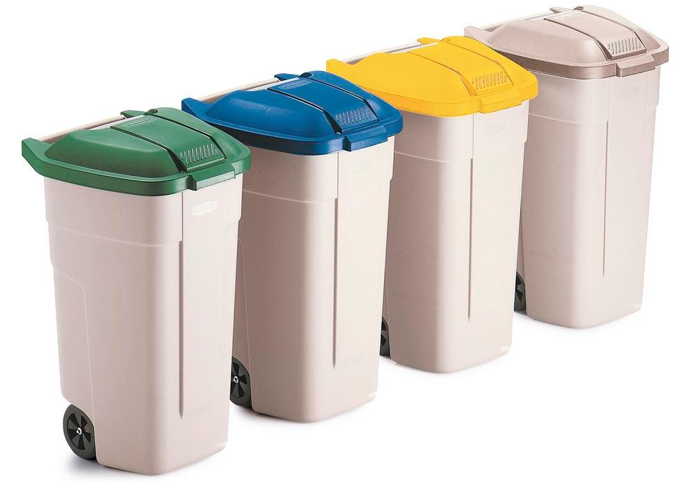 Lid for mobile bin with 100 litre capacity, green - 1