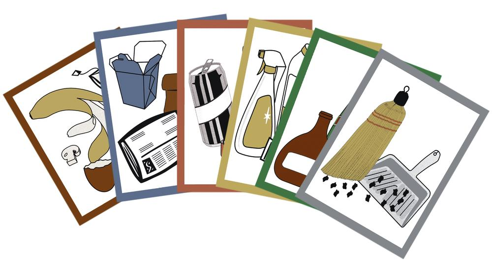 Pictogram set for waste separation containers, consisting of 6 symbols, coloured, self-adhesive