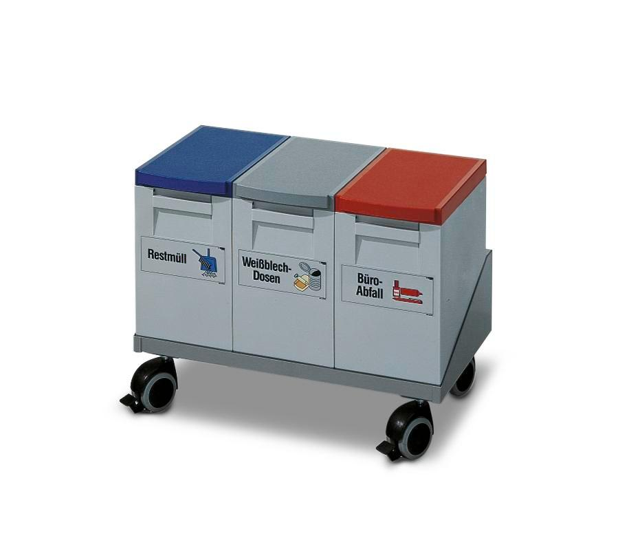 Recyclable materials collection station consisting of 3 x 15 litre collecting boxes and trolley