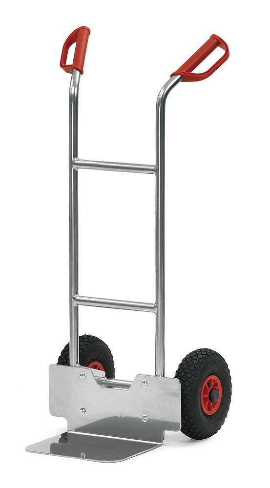 Sack truck for boxes A1 in aluminium, with safety handles and wheel protection, pneumatic tyres