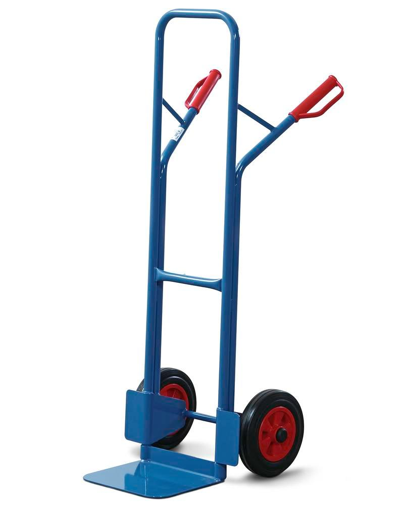 Sack truck HK 3, steel, with retaining bar, load capacity 300 kg, solid rubber tyres