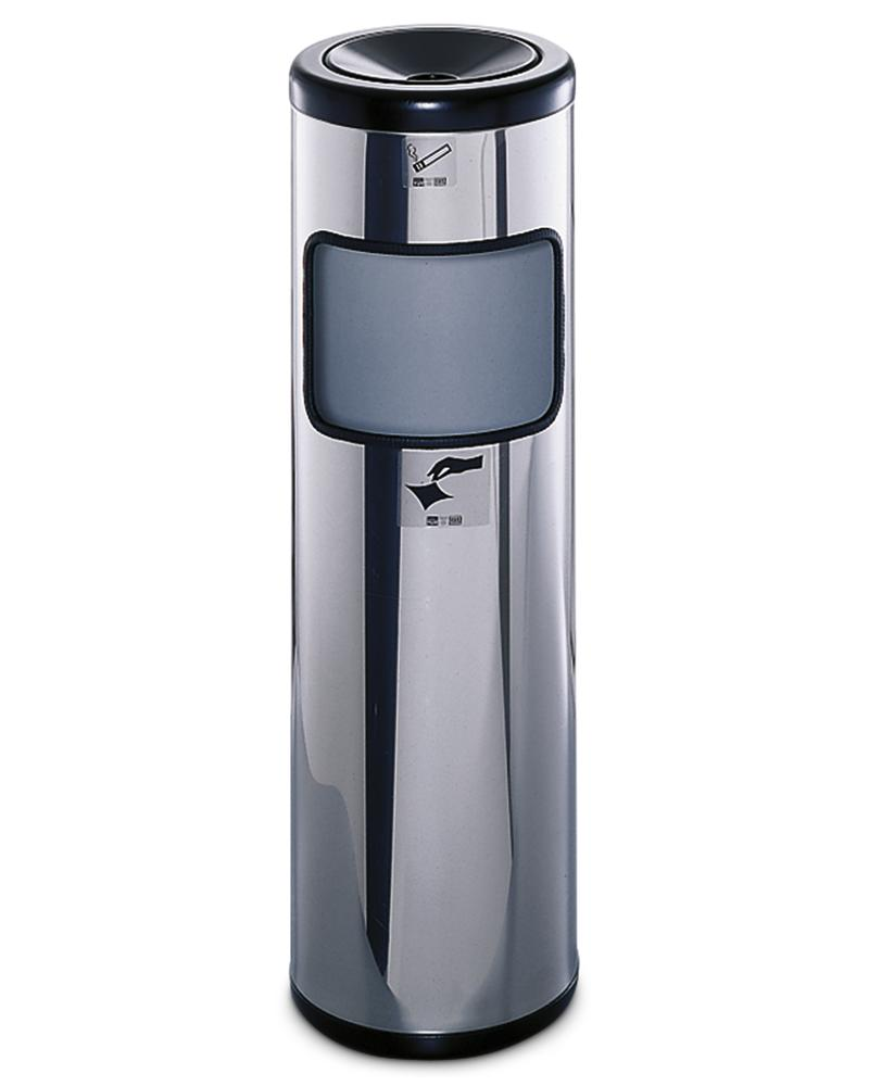 Safety ash tray stand with waste bin, in stainless steel, 40 litre volume