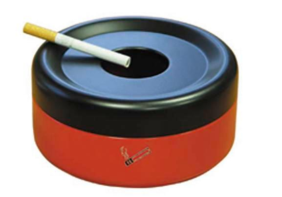Safety table-top ash tray, painted steel, 0.6 litre capacity, red/black