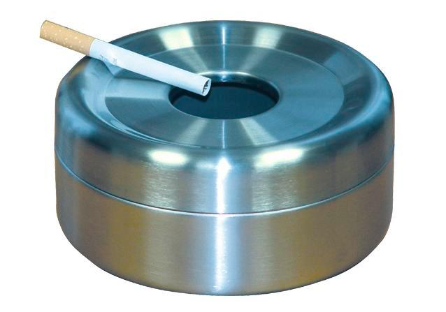 Safety table-top ash tray, stainless steel, 0.6 litre capacity