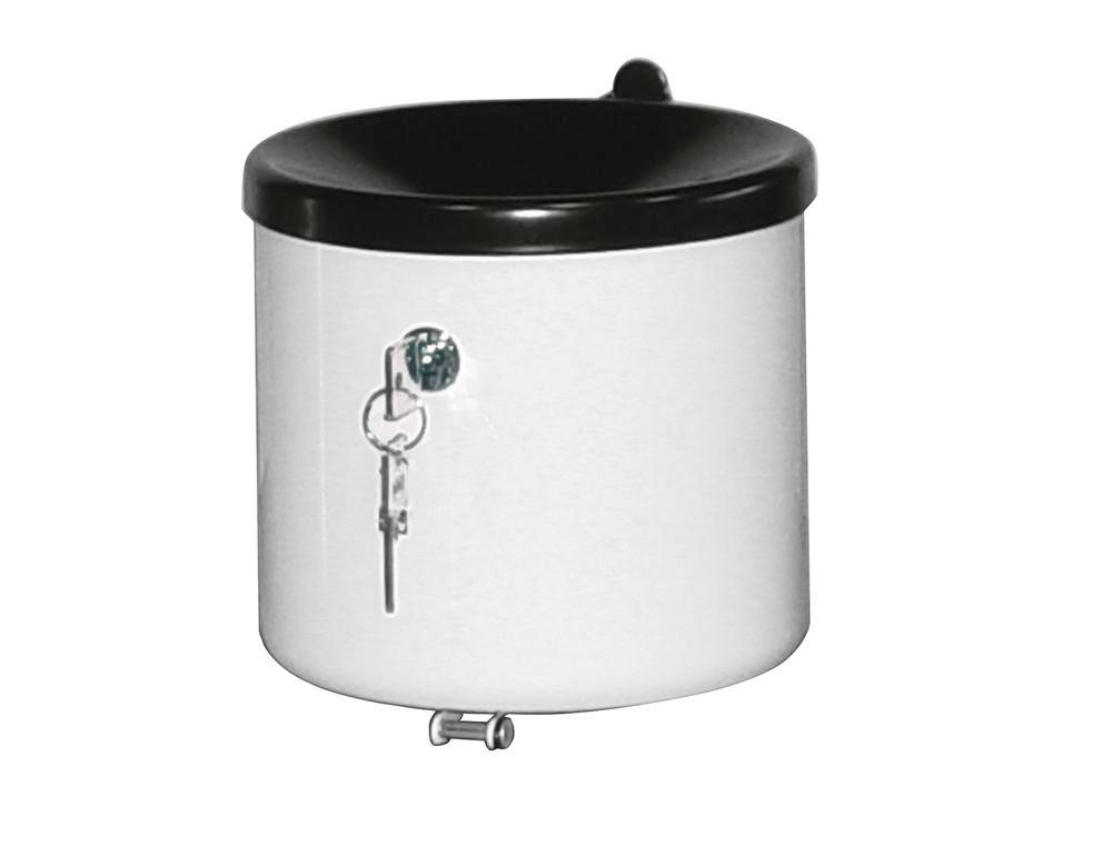 Self-extinguishing ash tray, stainless steel, lockable, wall mounted, 2.4 litre capacity