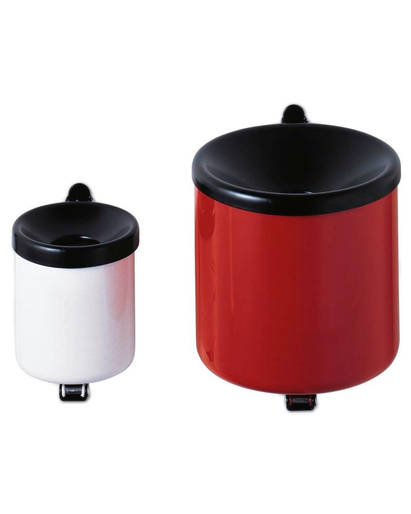 Self-extinguising ash tray, painted steel, wall mounted, 0.6 litre capacity, red