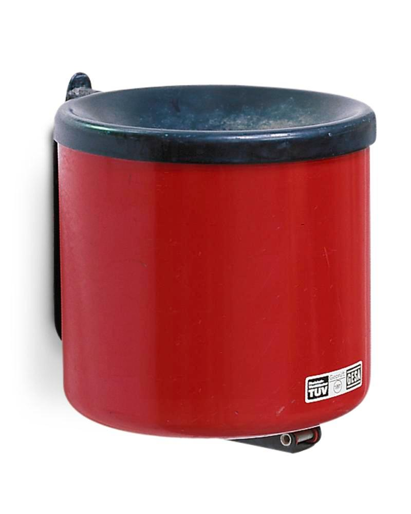 Self-extinguising ash tray, painted steel, wall mounted, 2.4 litre capacity, red