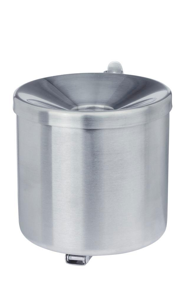 Self-extinguising ash tray, stainless steel, wall mounted, 0.6 litre capacity