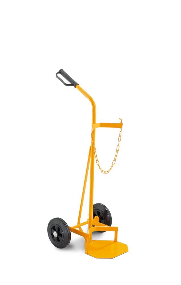 Steel gas cylinder trolley Basic GFW, for 1 gas cylinder, solid rubber wheels, yellow