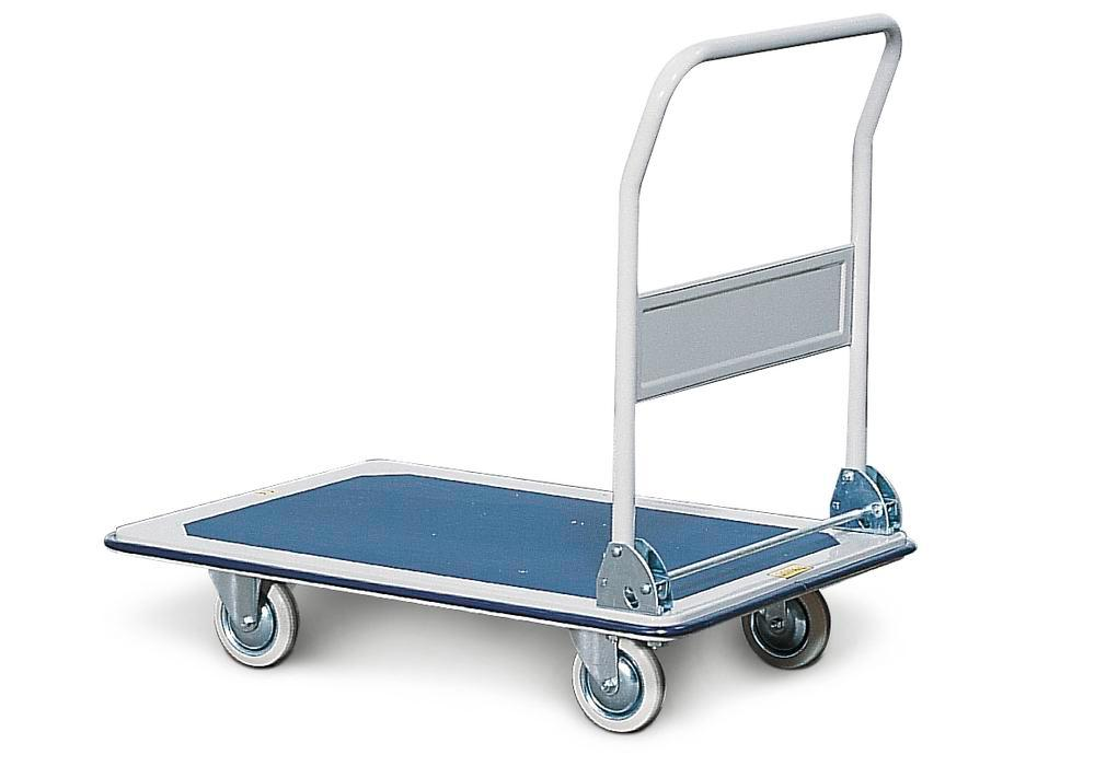 Tiered trolley TW-S 1, steel, with anti-slip surface on platform, 1 tier and 1 folding handle