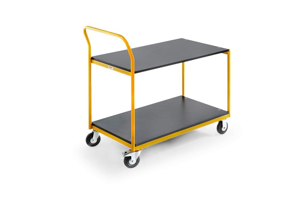 Tubular tiered trolley Basic RTW, 1030x600 mm, 2 levels, solid rubber tyres, handle, yellow
