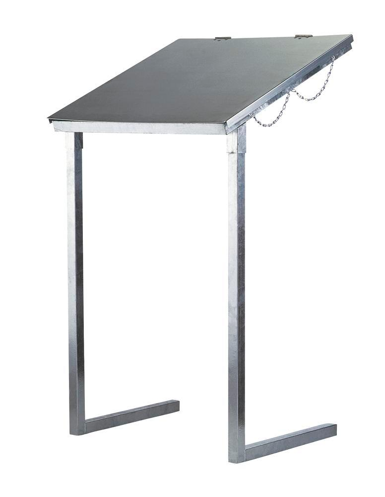 Waste bag holder, for large amounts of waste, galvanized, with lid, 1000 litre capacity, stationary