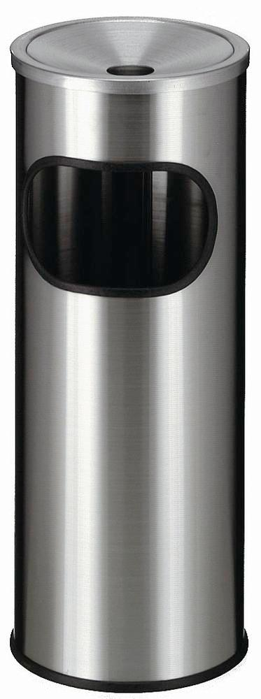 Waste bin/ash tray combination, stainless steel, removable internal container, 20 litre capacity