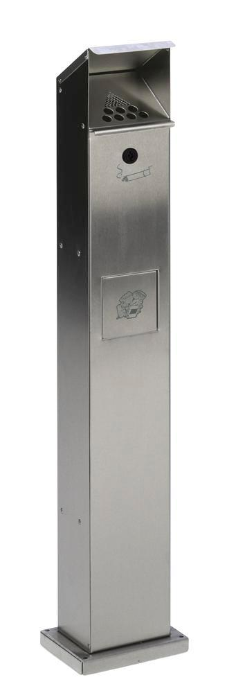 Waste bin/ashtray pillar combination in galvanised steel, with self closing flap, silver