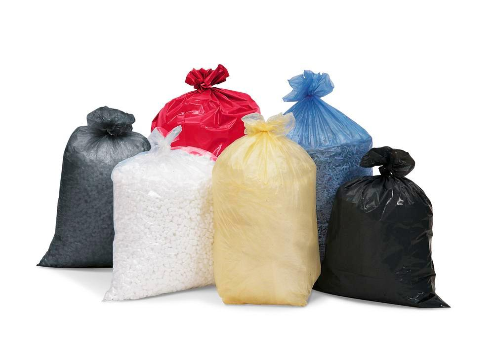 Waste sacks in polyethylene (PE), 120 litre volume, material thickness 40 µ, 250 per pack, red