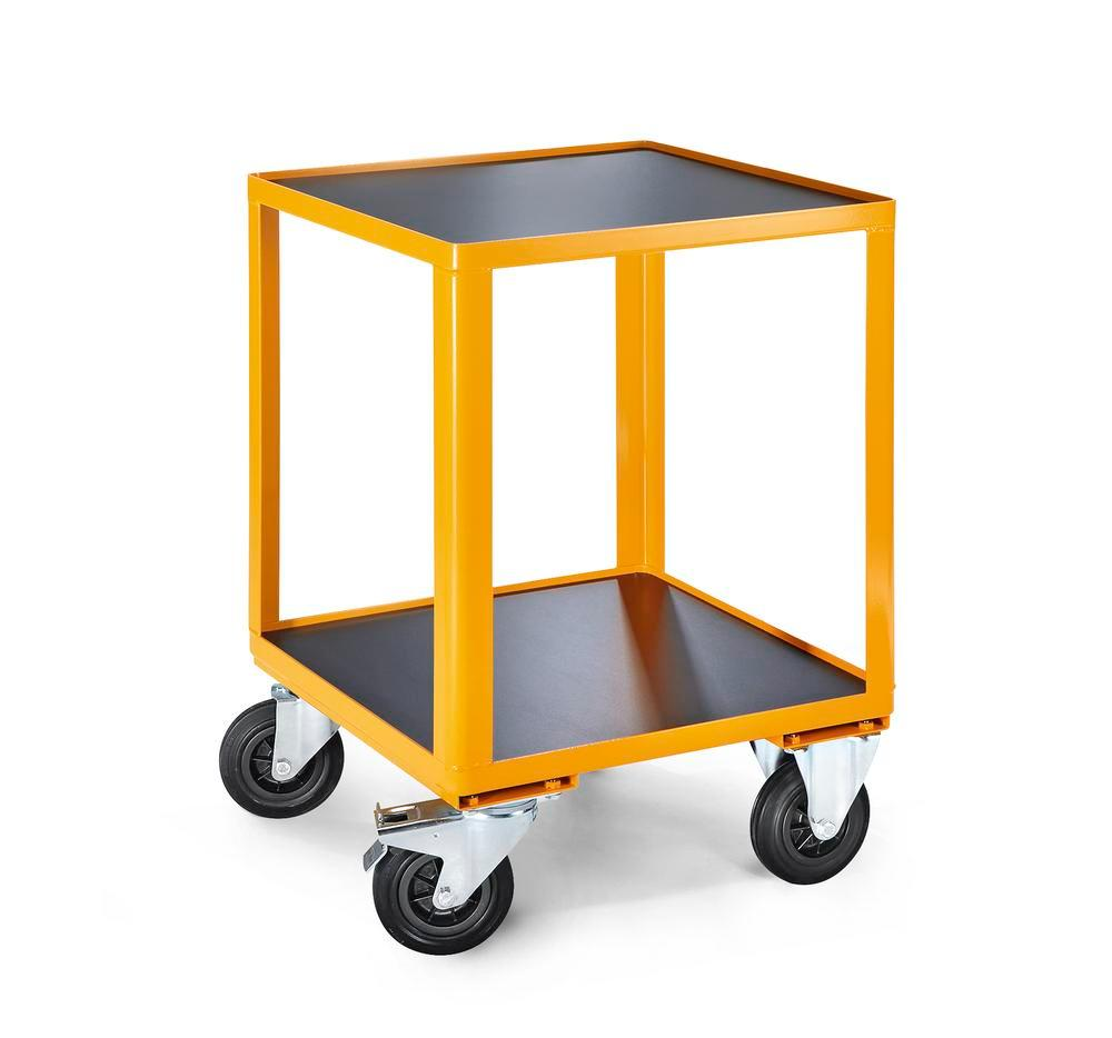 Workshop trolley Basic MHW1, 2 shelves, solid rubber tyres, yellow