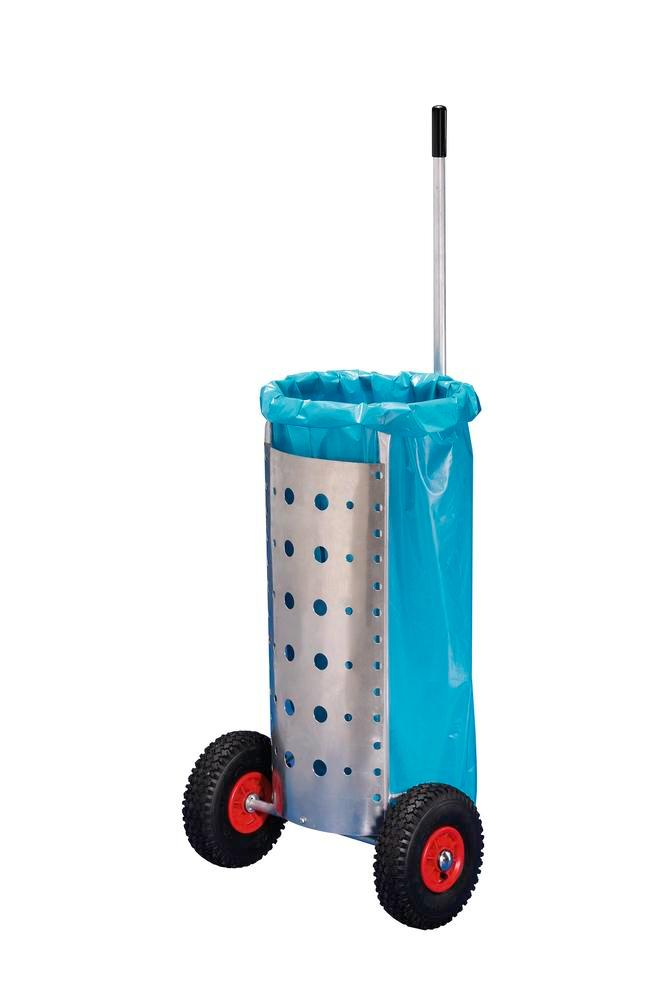 Cleaning trolley for 120 litre waste sacks, in aluminium