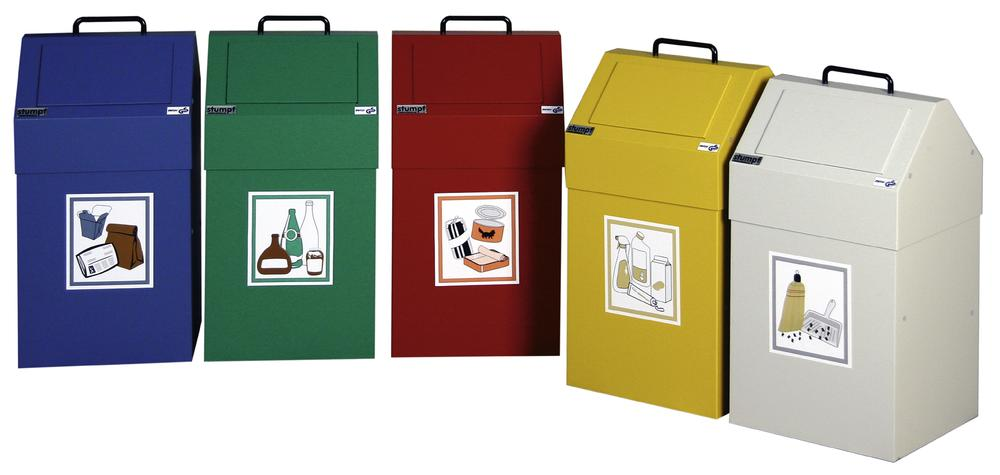 Fire retardant waste separation container AB 45-S, steel, sack holder, stationary, 45 ltre, green