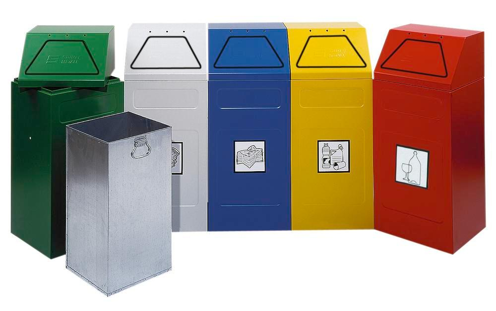 Fire retardant waste separation container AB 65-B, steel, inner bin, stationary, 65 ltre, yellow